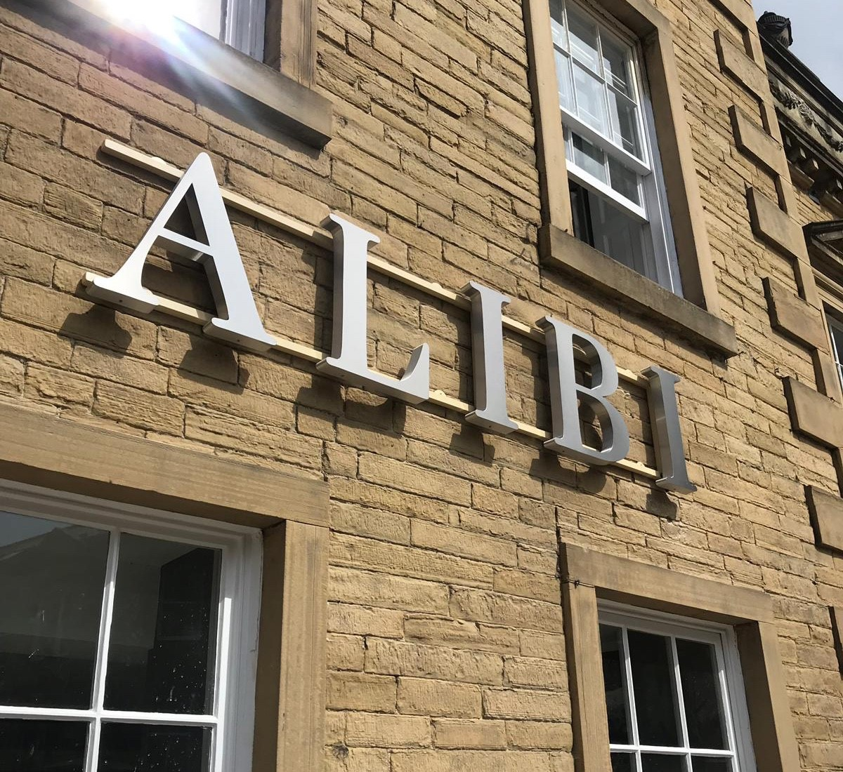 New signage at Alibi Bar and Restaurant 7 August 2019